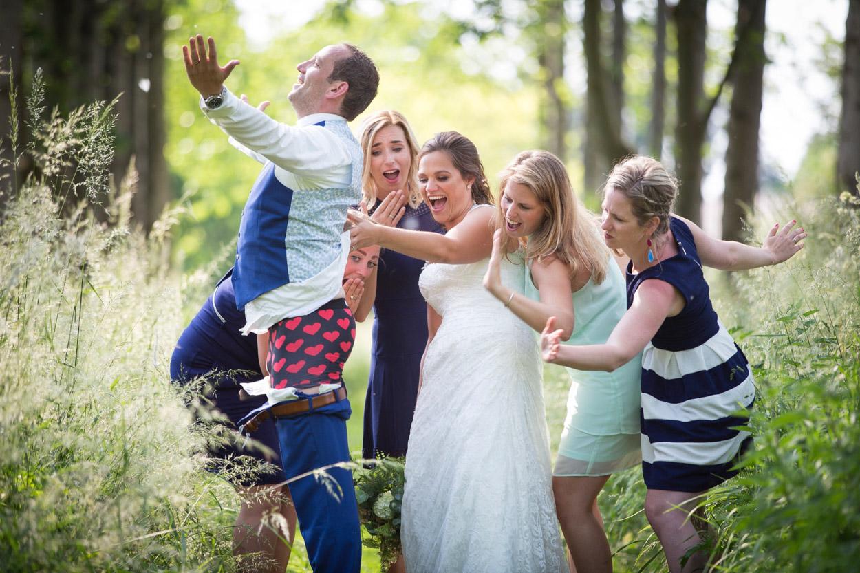 Grappige trouwfoto