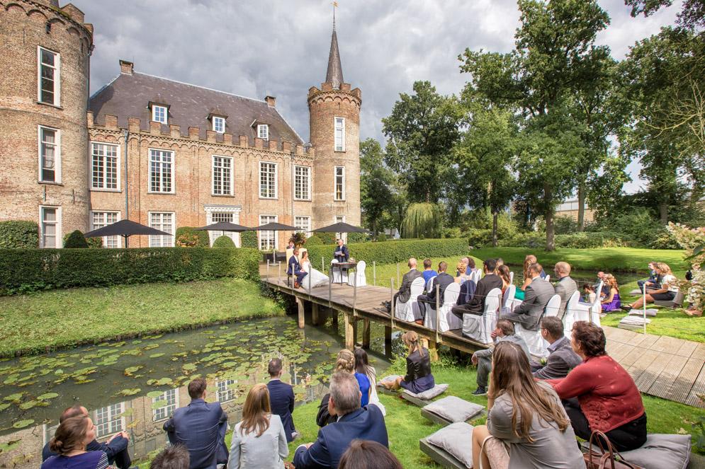 Noord Brabant, Fotoreportage ceremonie, Kasteel Henkenshage, Overzichtsfoto, Trouwerij.