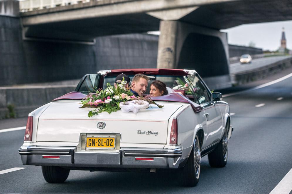 Trouwauto, Oldtimer, Noord Brabant, Snelweg, Bijzondere trouwfoto